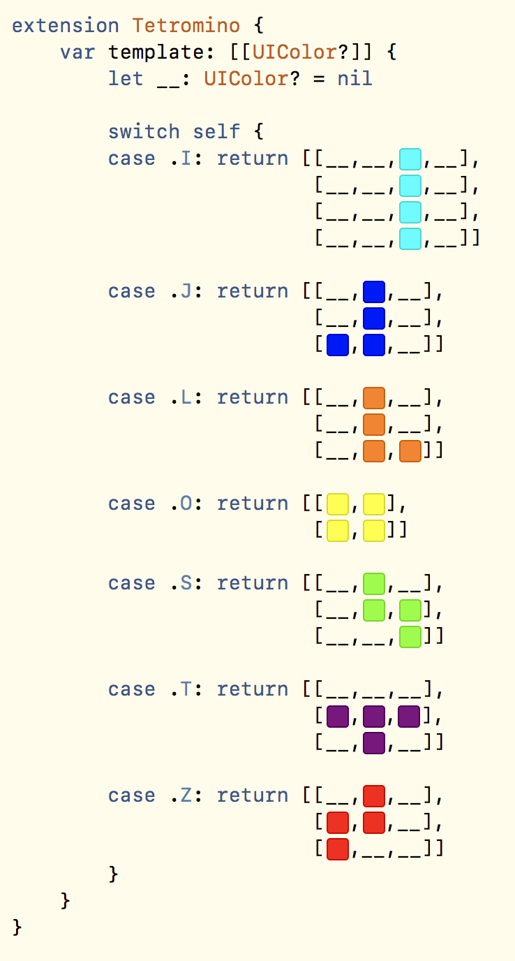 Image of data structure in Swift that use color literals to specify Tetris shapes.